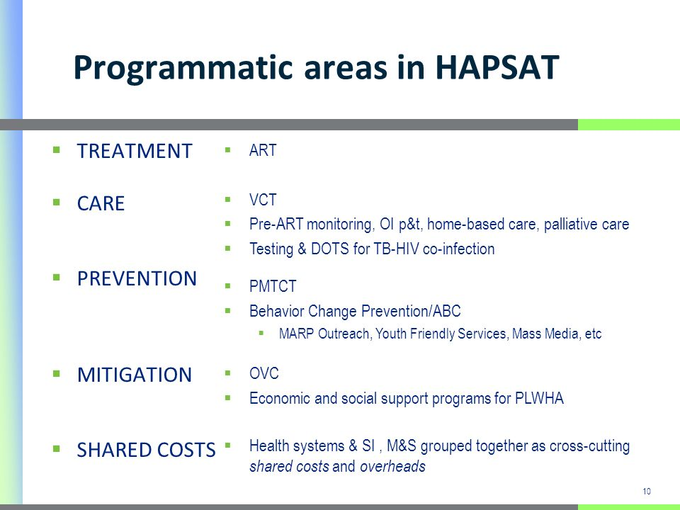 10 Programmatic areas in HAPSAT TREATMENT CARE PREVENTION MITIGATION SHARED COSTS ART VCT Pre-ART monitoring, OI p&t, home-based care, palliative care Testing & DOTS for TB-HIV co-infection PMTCT Behavior Change Prevention/ABC MARP Outreach, Youth Friendly Services, Mass Media, etc OVC Economic and social support programs for PLWHA Health systems & SI, M&S grouped together as cross-cutting shared costs and overheads