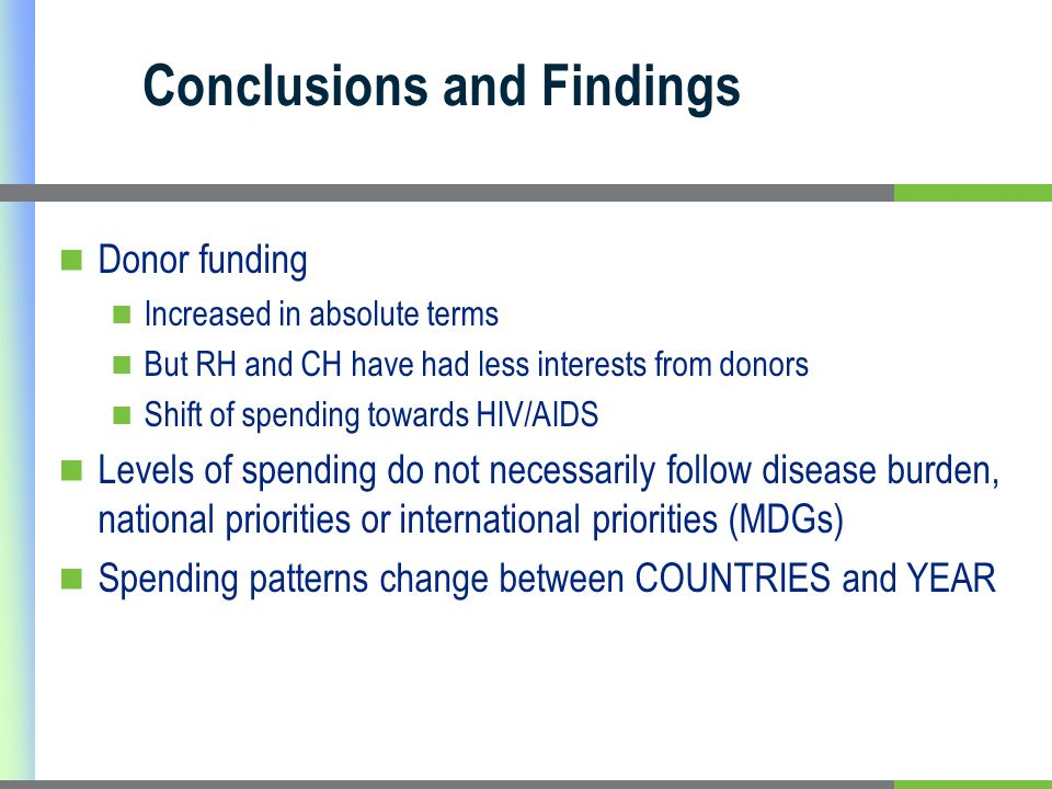 Conclusions and Findings Donor funding Increased in absolute terms But RH and CH have had less interests from donors Shift of spending towards HIV/AIDS Levels of spending do not necessarily follow disease burden, national priorities or international priorities (MDGs) Spending patterns change between COUNTRIES and YEAR