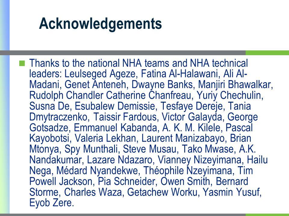 Acknowledgements Thanks to the national NHA teams and NHA technical leaders: Leulseged Ageze, Fatina Al-Halawani, Ali Al- Madani, Genet Anteneh, Dwayn
