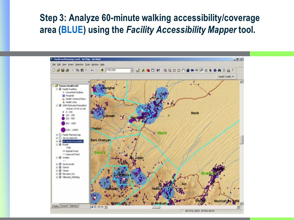 Step 3: Analyze 60-minute walking accessibility/coverage area (BLUE) using the Facility Accessibility Mapper tool.