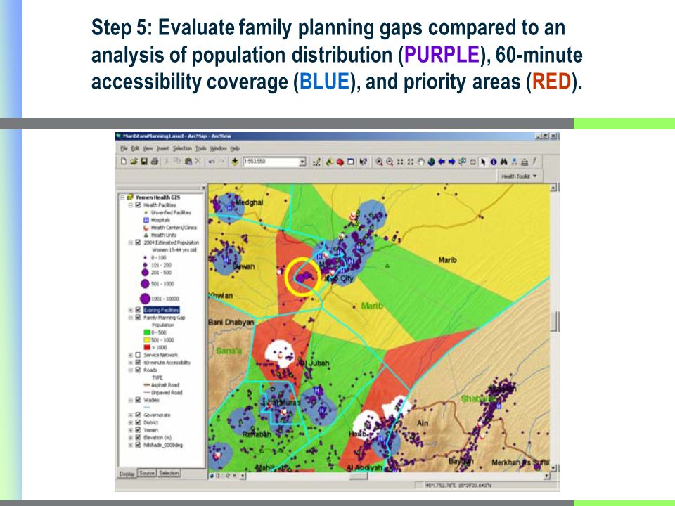 Step 5: Evaluate family planning gaps compared to an analysis of population distribution (PURPLE), 60-minute accessibility coverage (BLUE), and priori