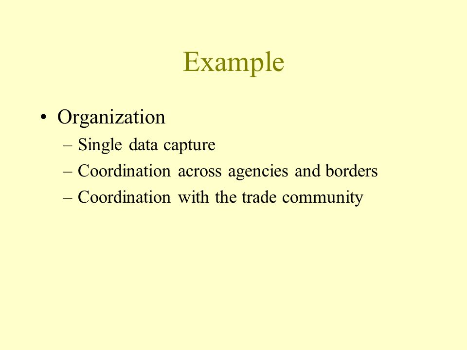 Example Organization –Single data capture –Coordination across agencies and borders –Coordination with the trade community