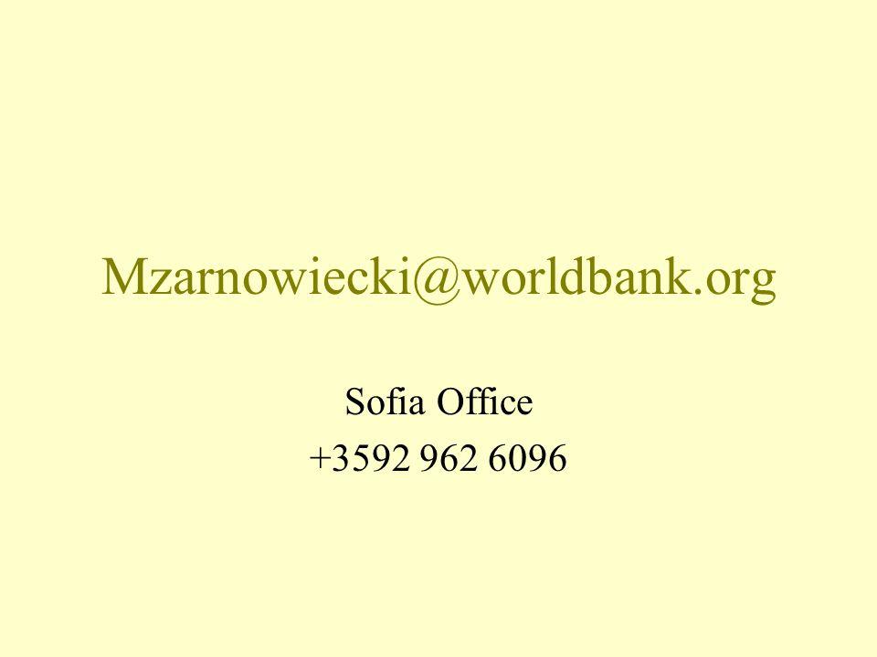 Mzarnowiecki@worldbank.org Sofia Office +3592 962 6096
