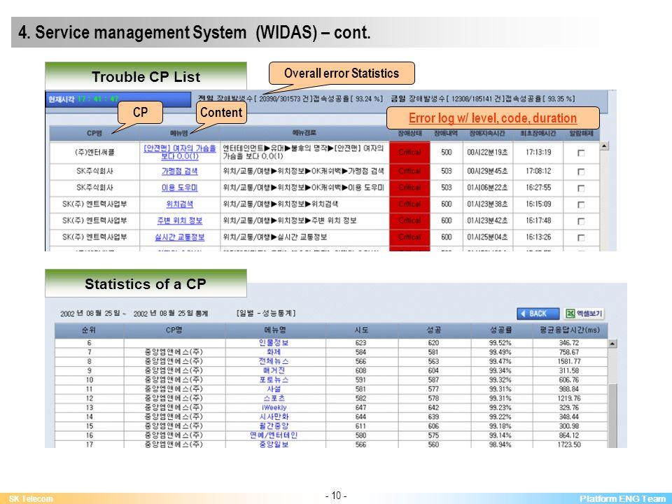 Platform ENG Team SK Telecom - 10 - 4. Service management System (WIDAS) – cont.