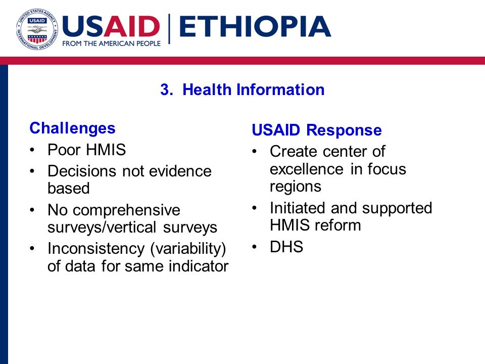3. Health Information Challenges Poor HMIS Decisions not evidence based No comprehensive surveys/vertical surveys Inconsistency (variability) of data