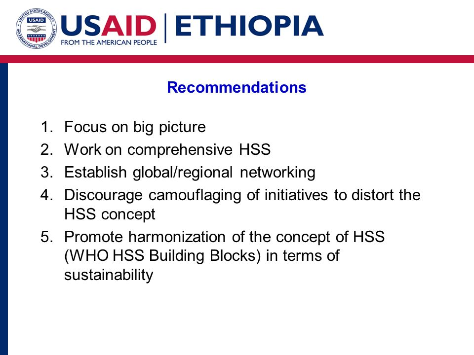 Recommendations 1.Focus on big picture 2.Work on comprehensive HSS 3.Establish global/regional networking 4.Discourage camouflaging of initiatives to