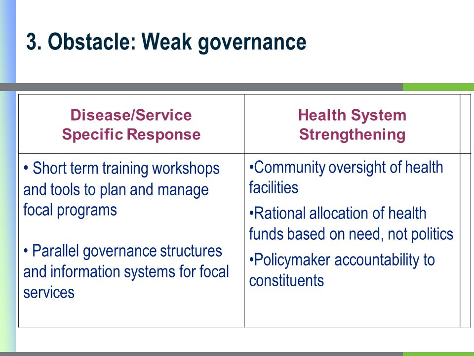 3. Obstacle: Weak governance Disease/Service Specific Response Health System Strengthening Short term training workshops and tools to plan and manage