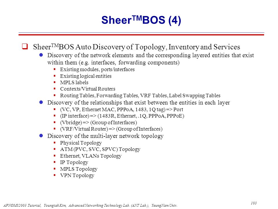 APNOMS2003 Tutorial, Youngtak Kim, Advanced Networking Technology Lab.