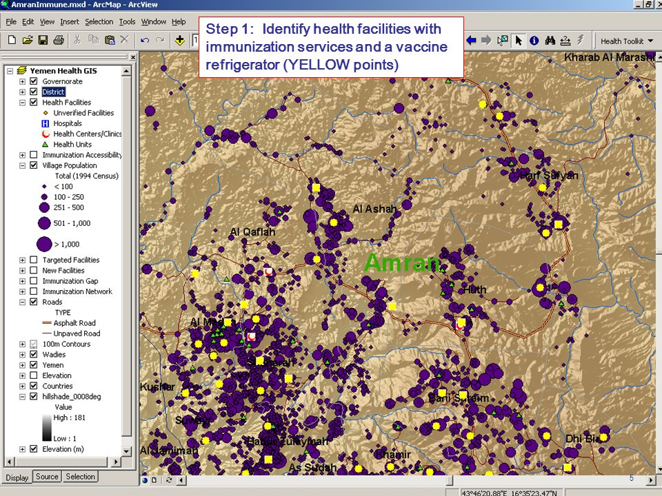 Step 1: Identify health facilities with immunization services and a vaccine refrigerator (YELLOW points) 5