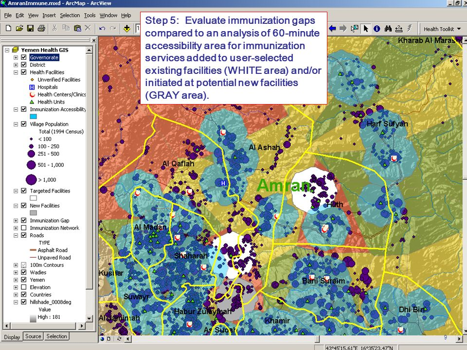 Step 5: Evaluate immunization gaps compared to an analysis of 60-minute accessibility area for immunization services added to user-selected existing facilities (WHITE area) and/or initiated at potential new facilities (GRAY area).