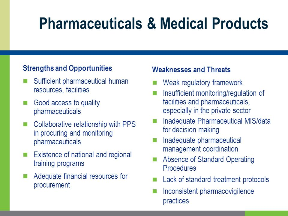 Pharmaceuticals & Medical Products Strengths and Opportunities Sufficient pharmaceutical human resources, facilities Good access to quality pharmaceut
