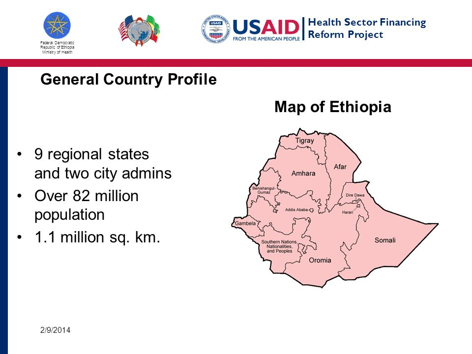 Health Sector Financing Reform Project Federal Democratic Republic of Ethiopia Ministry of Health General Country Profile 9 regional states and two city admins Over 82 million population 1.1 million sq.