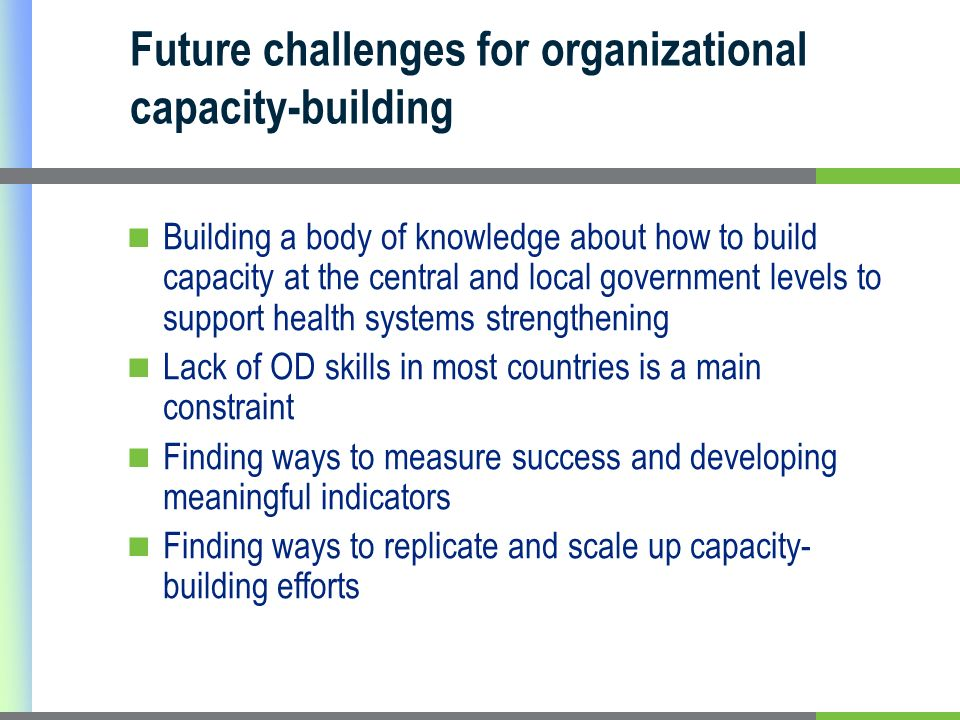Future challenges for organizational capacity-building Building a body of knowledge about how to build capacity at the central and local government levels to support health systems strengthening Lack of OD skills in most countries is a main constraint Finding ways to measure success and developing meaningful indicators Finding ways to replicate and scale up capacity- building efforts