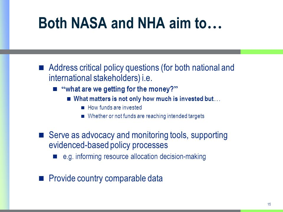 15 Both NASA and NHA aim to … Address critical policy questions (for both national and international stakeholders) i.e.