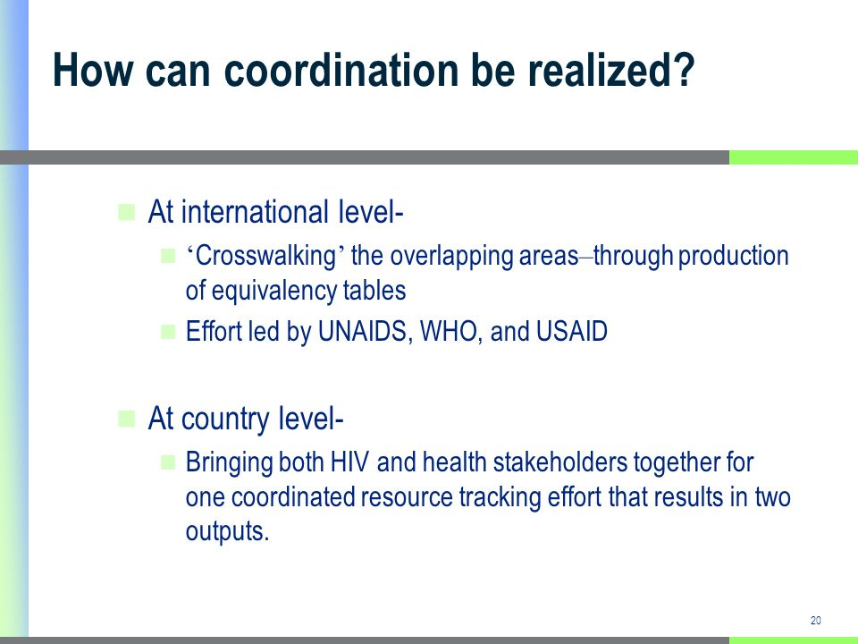 20 How can coordination be realized.
