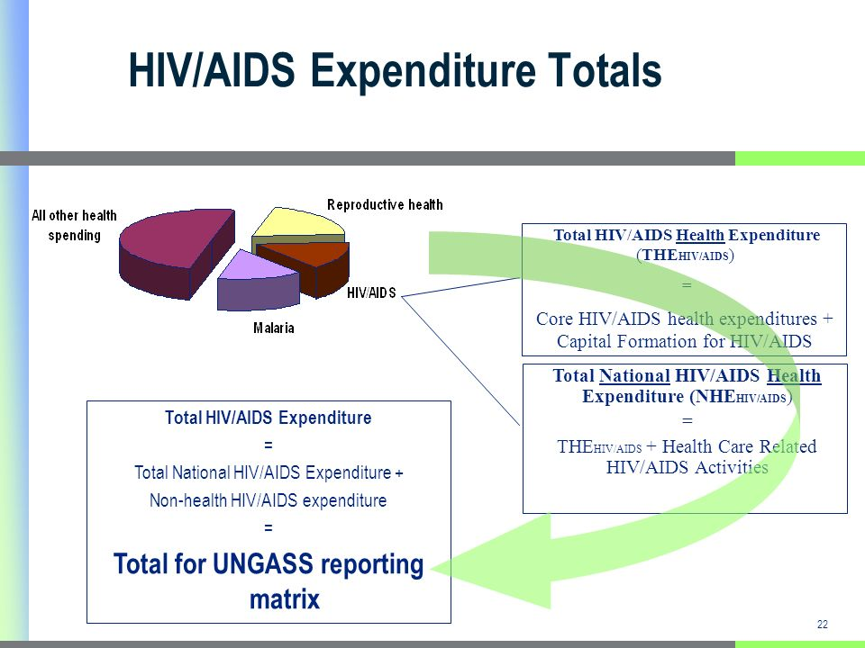 22 HIV/AIDS Expenditure Totals Total HIV/AIDS Health Expenditure (THE HIV/AIDS ) = Core HIV/AIDS health expenditures + Capital Formation for HIV/AIDS Total National HIV/AIDS Health Expenditure (NHE HIV/AIDS ) = THE HIV/AIDS + Health Care Related HIV/AIDS Activities Total HIV/AIDS Expenditure = Total National HIV/AIDS Expenditure + Non-health HIV/AIDS expenditure = Total for UNGASS reporting matrix