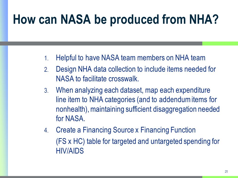 25 How can NASA be produced from NHA. 1. Helpful to have NASA team members on NHA team 2.