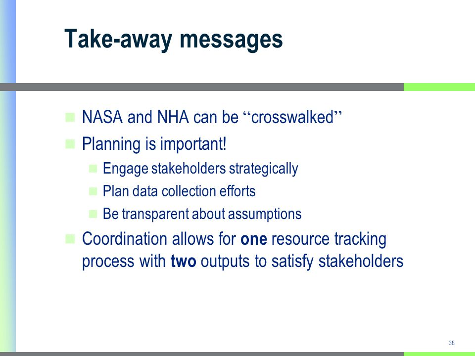 38 Take-away messages NASA and NHA can be crosswalked Planning is important.