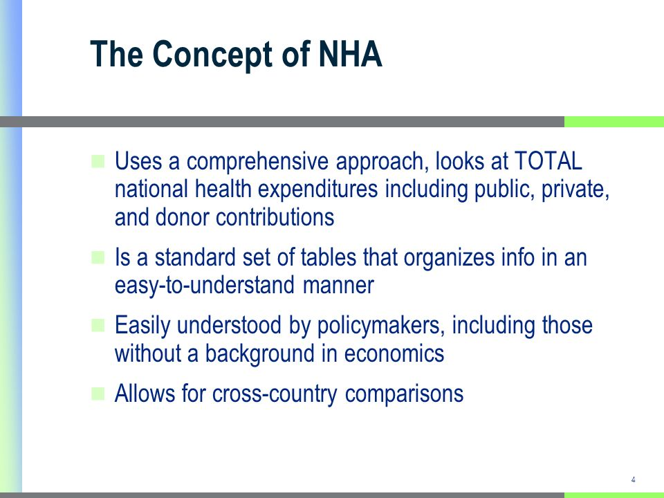 5 Purpose of NHA Single most important purpose: Contribute to the health policy process Can lead to better informed health policy decisions and avoid potentially adverse policy choices Inform donor funding decisions Further international development