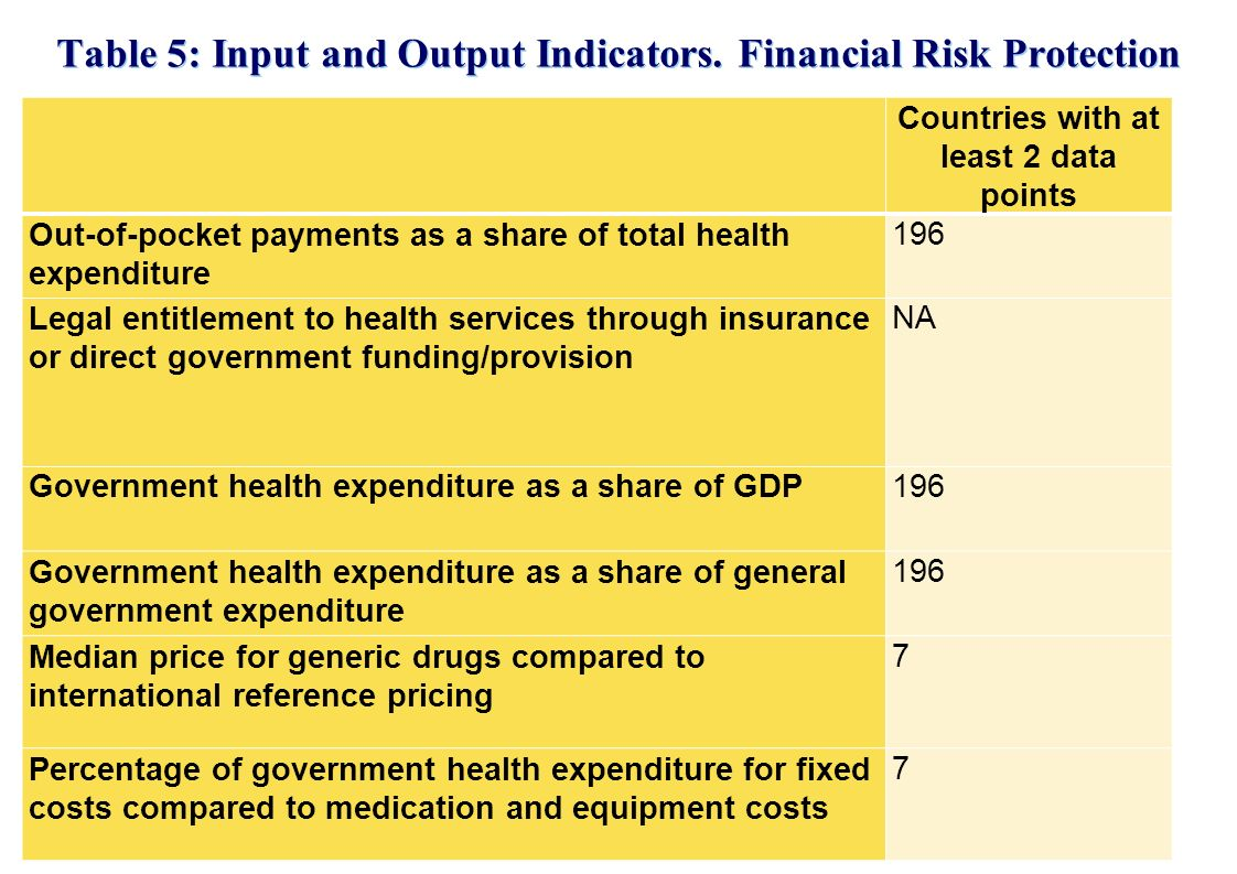 Table 5: Input and Output Indicators. Financial Risk Protection.