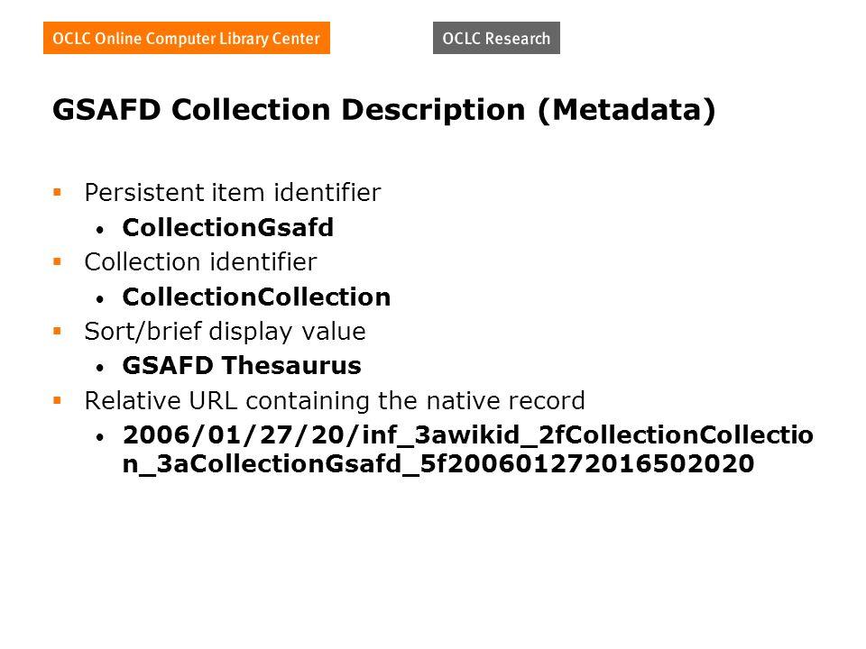 GSAFD Collection Description (Metadata) Persistent item identifier CollectionGsafd Collection identifier CollectionCollection Sort/brief display value