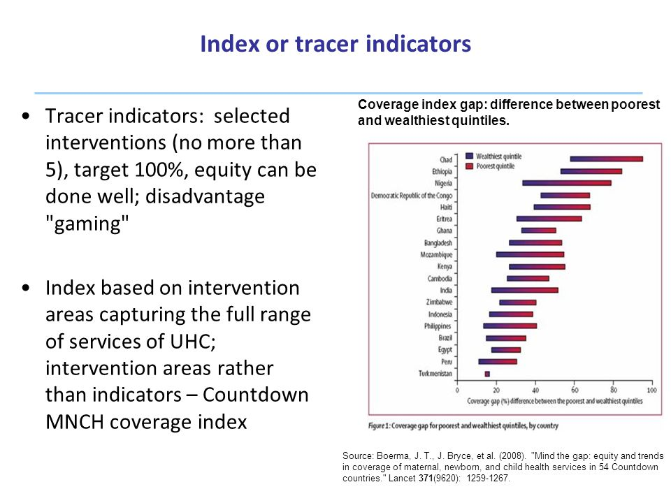 Index or tracer indicators 6 Tracer indicators: selected interventions (no more than 5), target 100%, equity can be done well; disadvantage