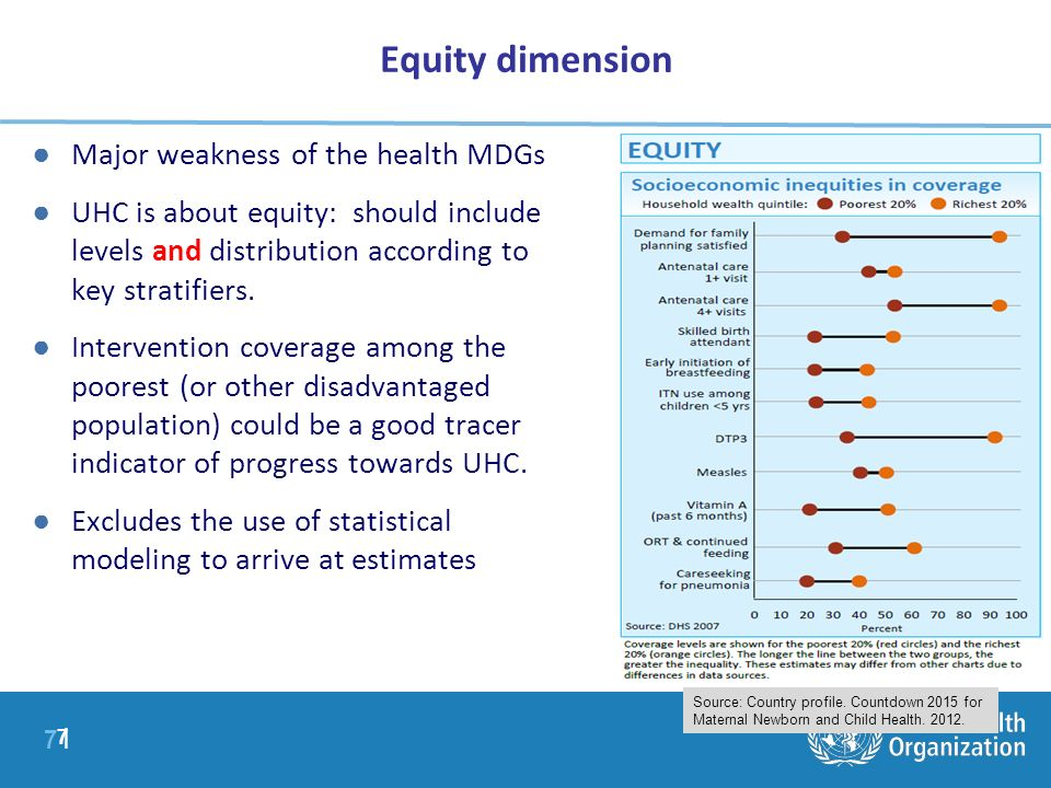 7 |7 | Equity dimension 7 Major weakness of the health MDGs UHC is about equity: should include levels and distribution according to key stratifiers.
