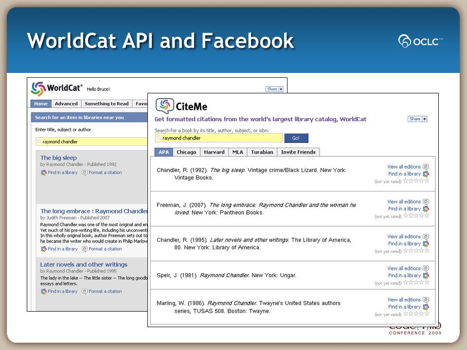 WorldCat API and Facebook