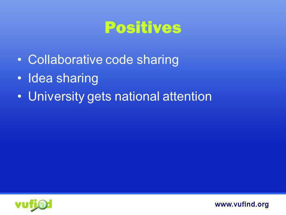www.vufind.org Positives Collaborative code sharing Idea sharing University gets national attention