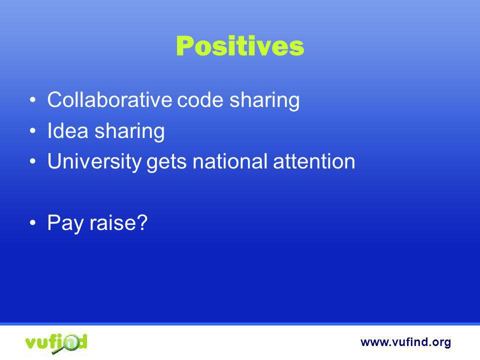 www.vufind.org Positives Collaborative code sharing Idea sharing University gets national attention Pay raise?