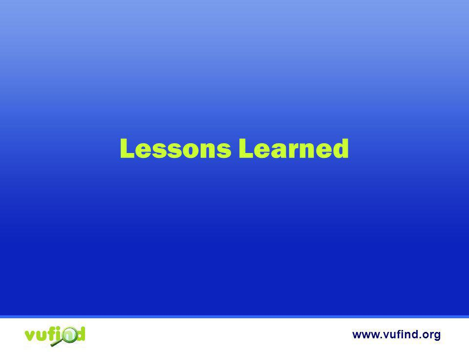 www.vufind.org Lessons Learned