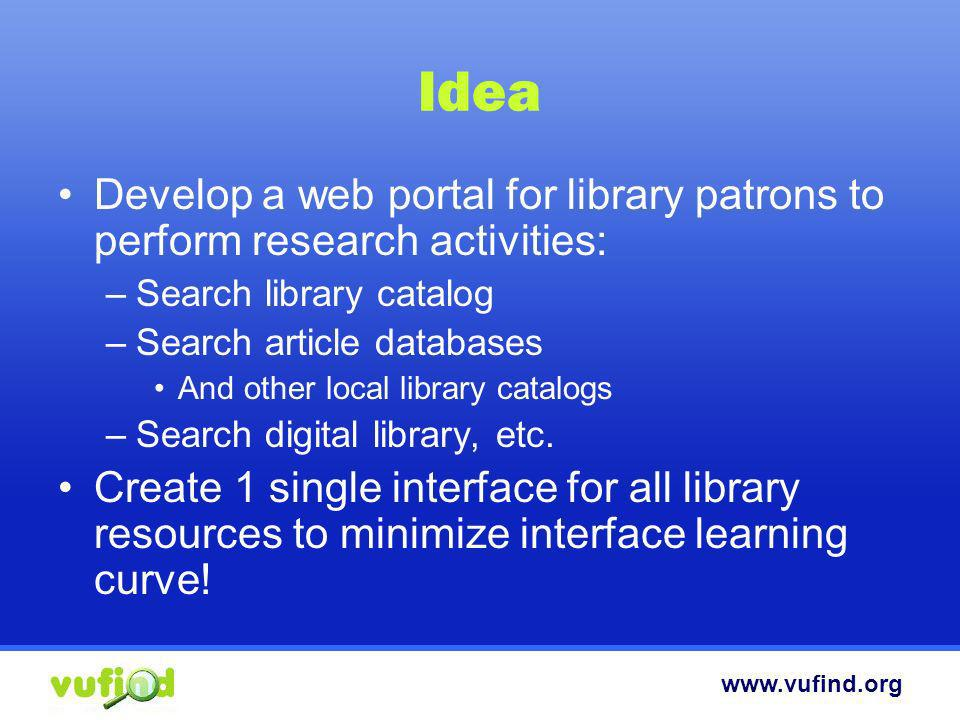 www.vufind.org Hmmm… Most academic libraries are dealing with the same problems Lets build a solution that will help many other libraries and that will attract other libraries to help collaborate on a common goal