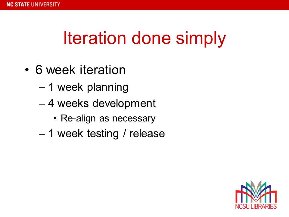 Iteration done simply 6 week iteration –1 week planning –4 weeks development Re-align as necessary –1 week testing / release