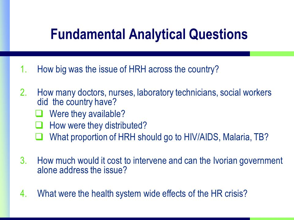 Fundamental Analytical Questions 1.How big was the issue of HRH across the country.