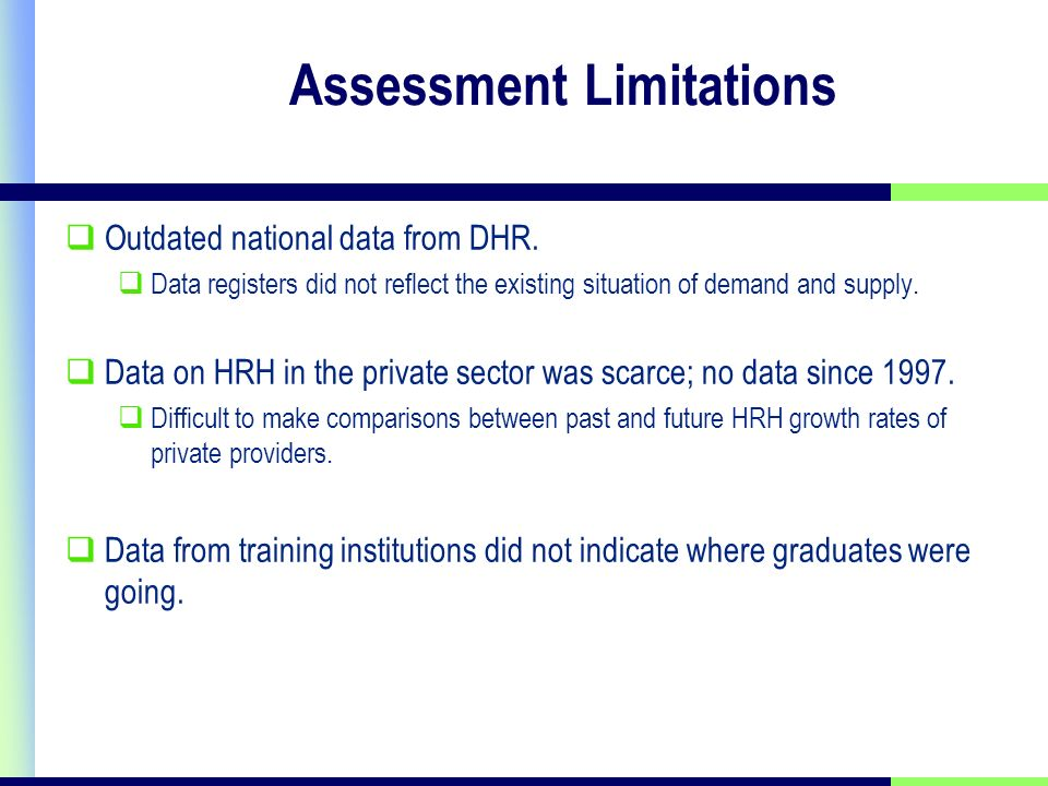 Assessment Limitations Outdated national data from DHR.