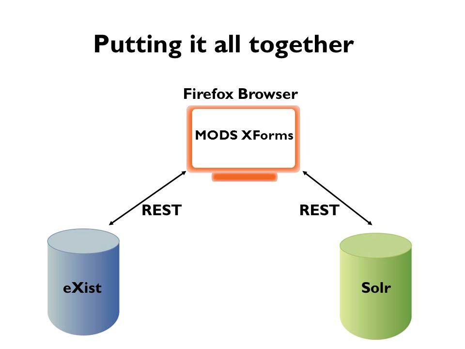 Putting it all together MODS XForms eXistSolr Firefox Browser REST