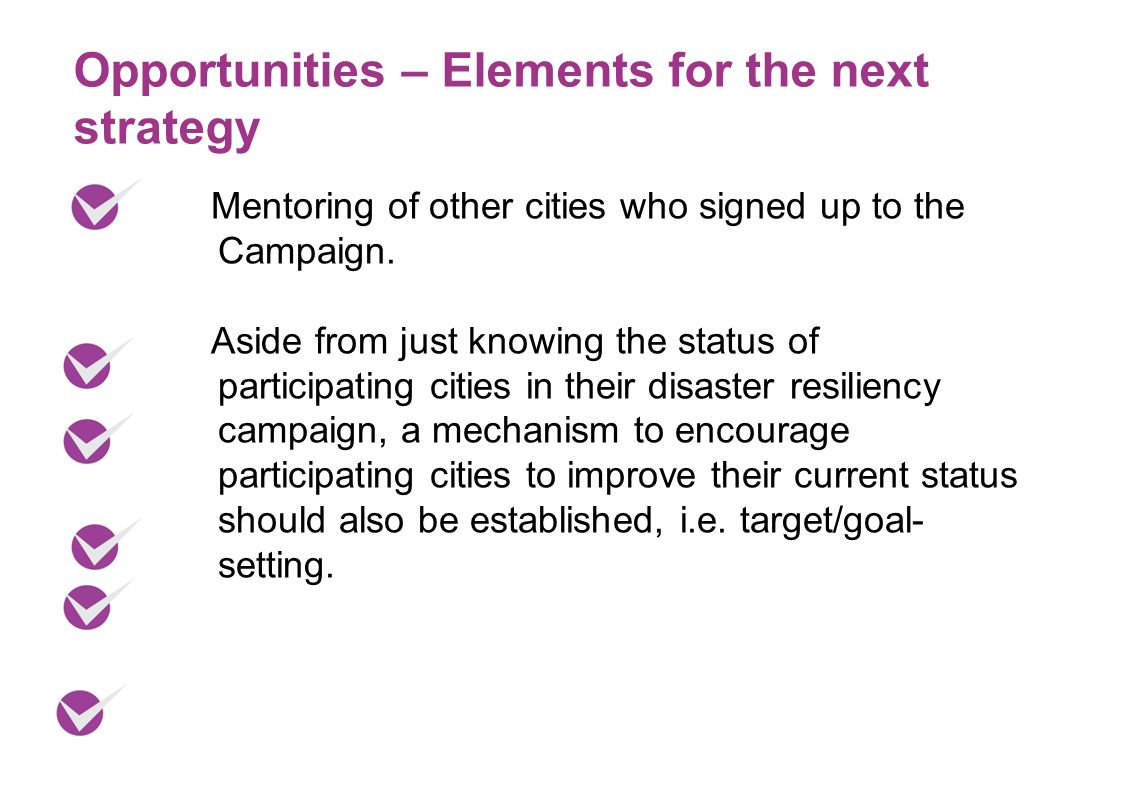 Opportunities – Elements for the next strategy Mentoring of other cities who signed up to the Campaign. Aside from just knowing the status of particip