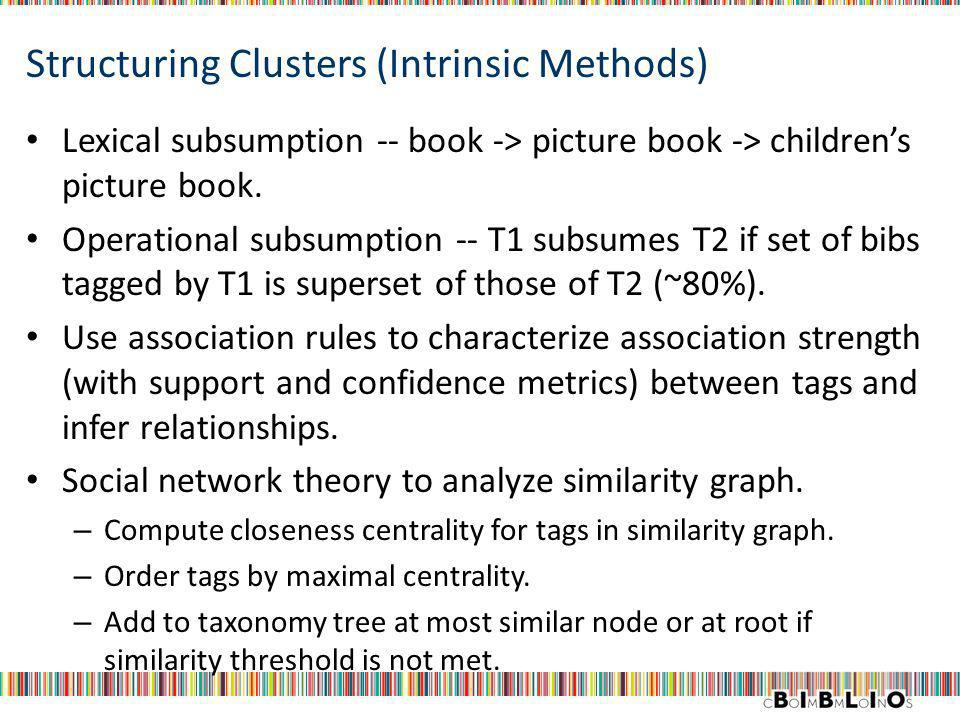 Structuring Clusters (Intrinsic Methods) Lexical subsumption -- book -> picture book -> childrens picture book. Operational subsumption -- T1 subsumes