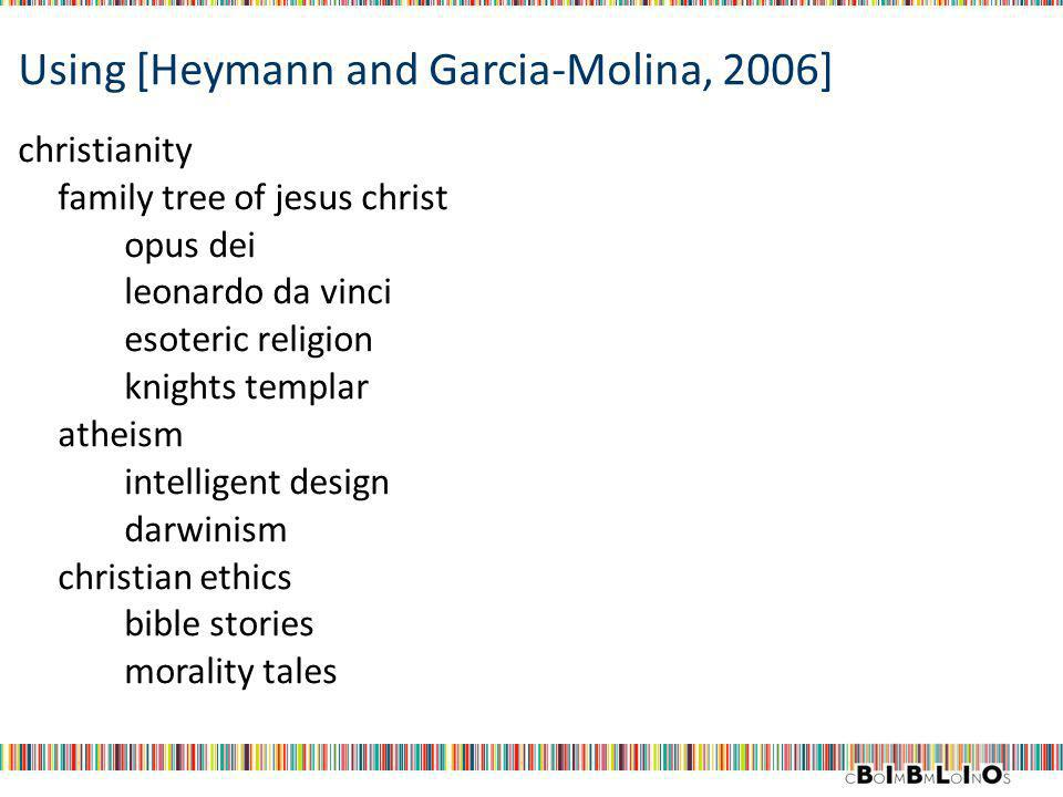 Using [Heymann and Garcia-Molina, 2006] christianity family tree of jesus christ opus dei leonardo da vinci esoteric religion knights templar atheism intelligent design darwinism christian ethics bible stories morality tales