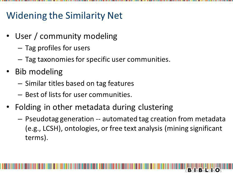 Widening the Similarity Net User / community modeling – Tag profiles for users – Tag taxonomies for specific user communities.
