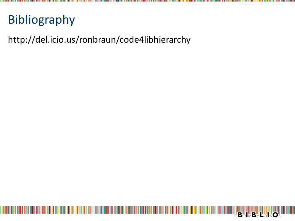 Bibliography http://del.icio.us/ronbraun/code4libhierarchy