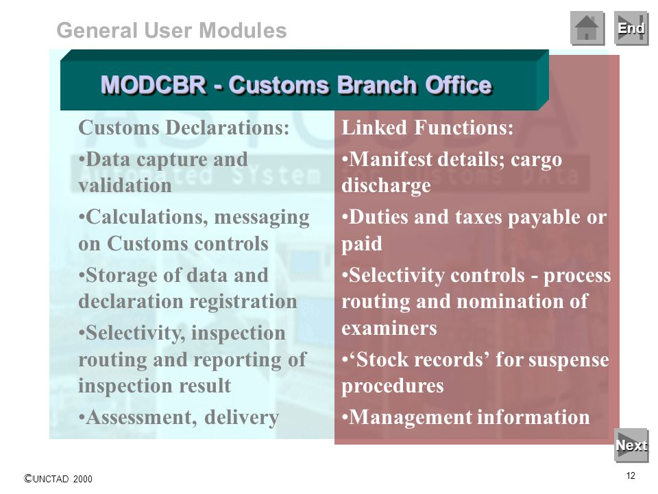 End © UNCTAD 2000 11 General User Modules Customs Declarations: Data capture and validation Calculations, messaging on Customs controls Storage of dat