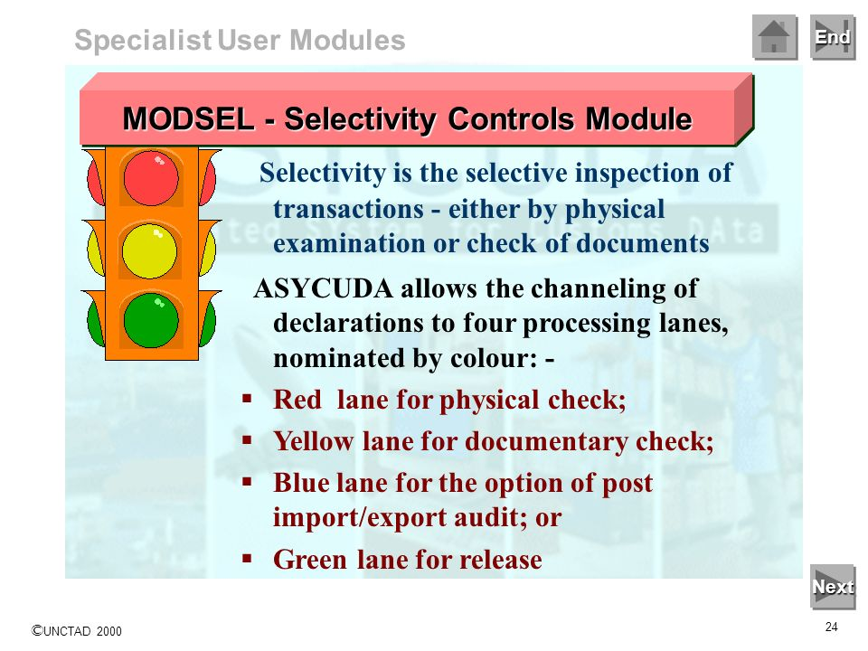 End © UNCTAD 2000 23 Selectivity Selectivity is the process of using declaration data, together with information from other sources, to identify goods