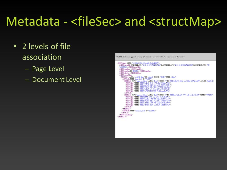Metadata - and 2 levels of file association – Page Level – Document Level