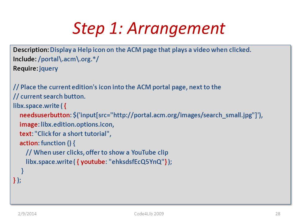 LIBAPP EXAMPLE: ALERT ACM PORTAL USERS 2/9/2014Code4Lib 200927