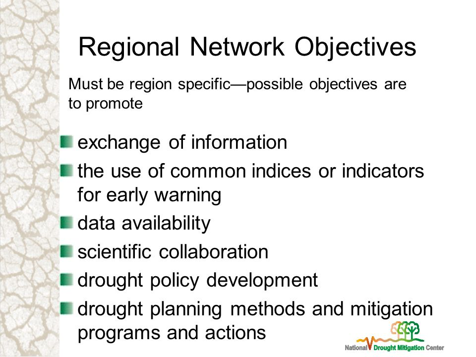 Regional Network Objectives exchange of information the use of common indices or indicators for early warning data availability scientific collaboration drought policy development drought planning methods and mitigation programs and actions Must be region specificpossible objectives are to promote