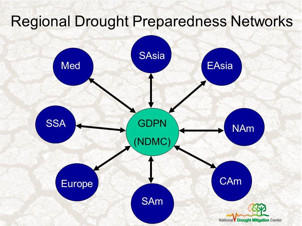 Regional Drought Preparedness Networks GDPN (NDMC) SSA Med Europe SAm CAm SAsia EAsia NAm