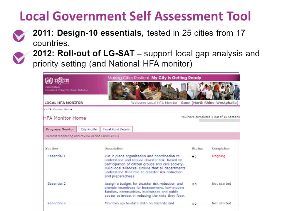 Local Government Self Assessment Tool 2011: Design-10 essentials, tested in 25 cities from 17 countries.