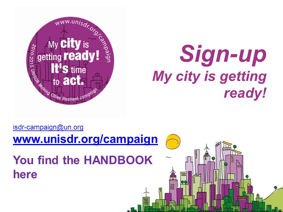 Sign-up My city is getting ready.