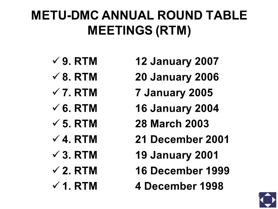 8 METU-DMC ANNUAL ROUND TABLE MEETINGS (RTM) 9. RTM12 January 2007 8. RTM 20 January 2006 7. RTM 7 January 2005 6. RTM 16 January 2004 5. RTM28 March